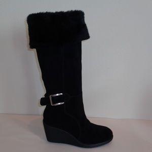 Tahari JENNY Black Leather New Wedge Boots